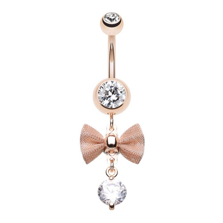 Elegant Mesh Bow-Tie Gem Dangle Belly Button Ring