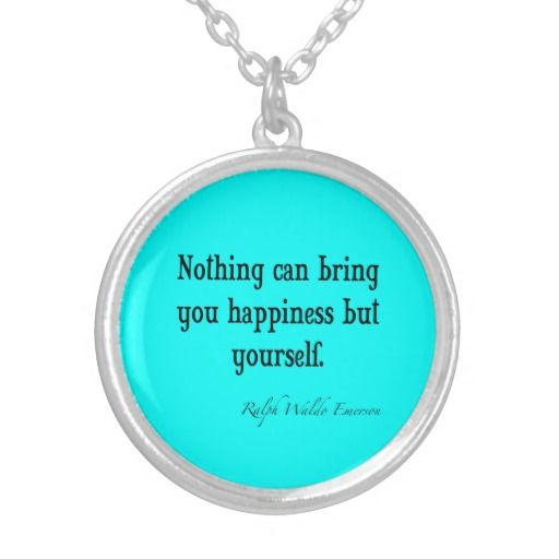 Vintage Emerson Happiness Quote Neon Blue Teal Pendants