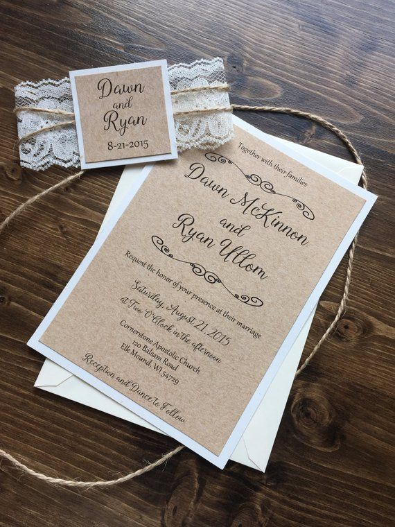 Rustic Wedding Invitation Vintage Wedding Invitation Shabby Chic