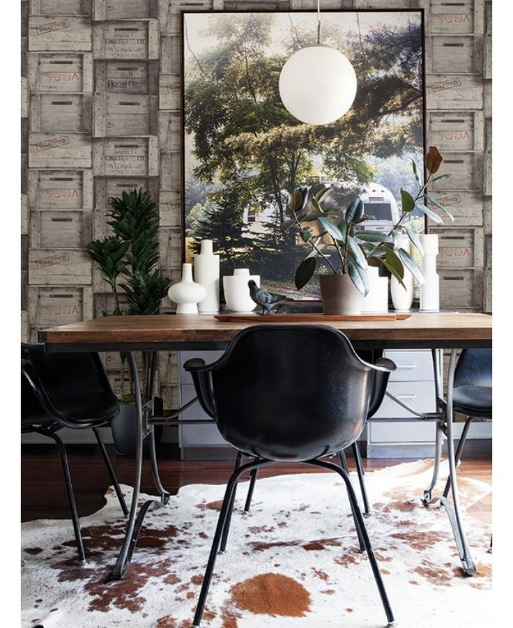 Realistic rustic wooden crates design wallpaper Ideal for feature walls and entire rooms High quality wallpaper
