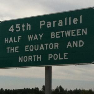 45th Parallel: Half Way Between the Equator and North Pole...Salem, Oregon...sign on I-5