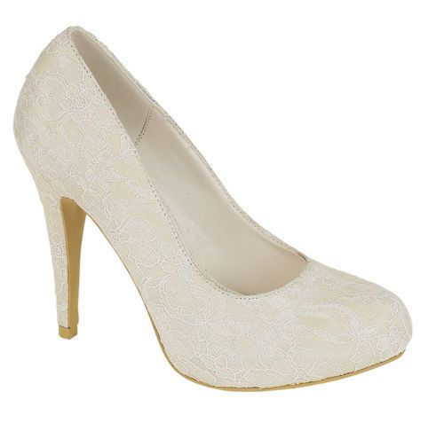 NEW WOMENS LADIES EVENING IVORY BRIDESMAID BRIDAL WEDDING LACE COURT SHOES 3-8 | Clothes, Shoes & Accessories, Women's Shoes, Heels | eBay!