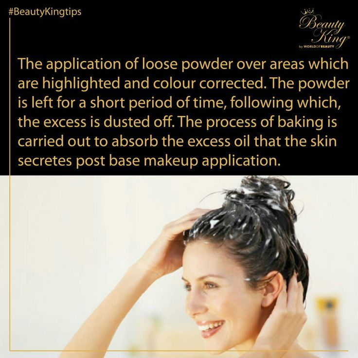 #BeautyKing #BeautyLingo #Baking Image: The application of loose powder over areas which are highlighted and colour corrected. The powder is left for a short period of time, following which, the excess is dusted off. The process of baking is carried out to absorb the excess oil that the skin secretes post base makeup application.