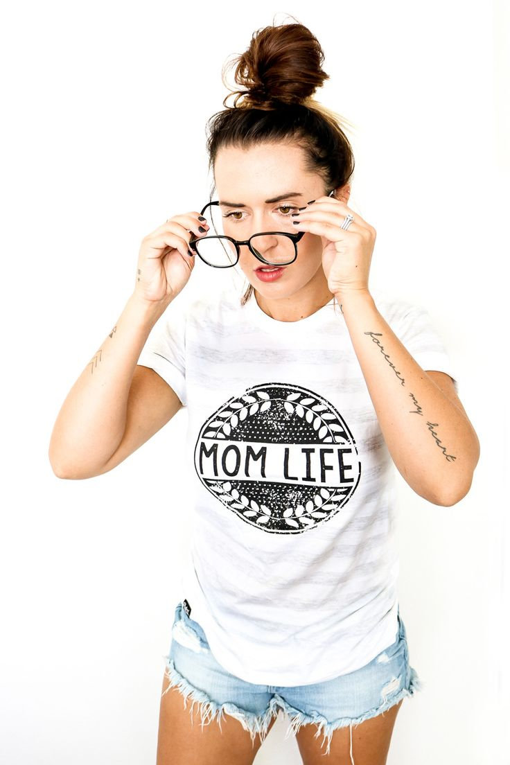 Mom Life Striped Tee Size Large
