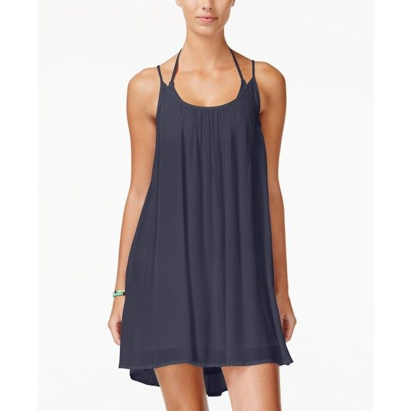 Roxy Juniors' Windy Fly Away Strappy Trapeze Sundress ($44) ❤ liked on Polyvore featuring dresses, dark blue, textured dress, strap dress, strappy dress, sundress dresses and roxy sundress
