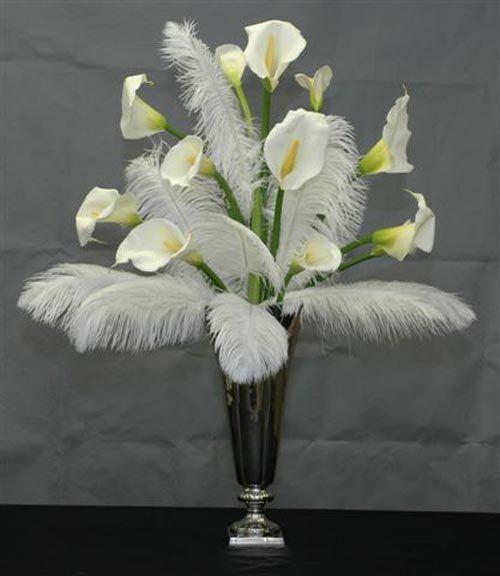 Calla Lilies Feather Centerpiece