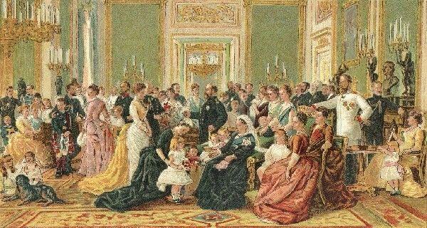 Laurits Tuxen 1887 Dronning Victoria med familie på Windsor Castle. 165,5x226cm