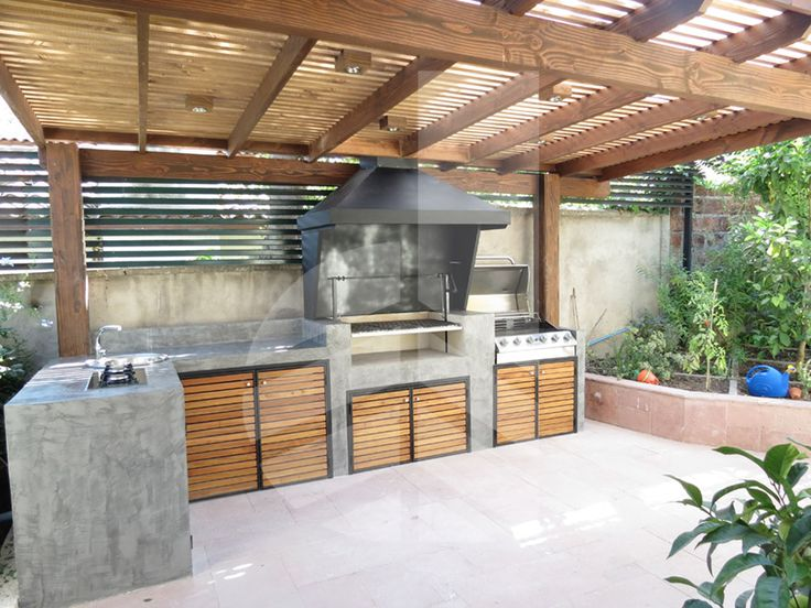 77 best bbq images on pinterest backyard patio bar for Casas modernas quinchos