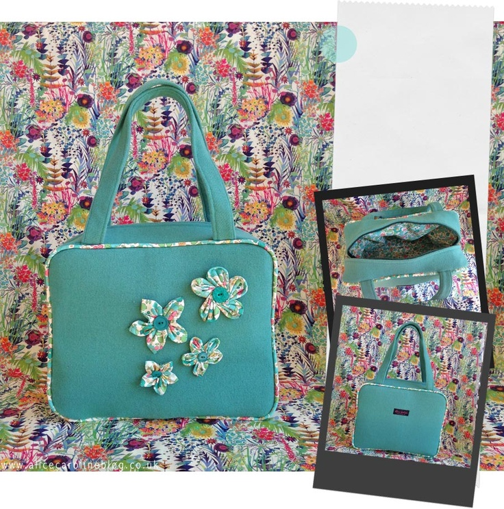 Teal wool bag with Betsy Liberty fabric piping and flowers