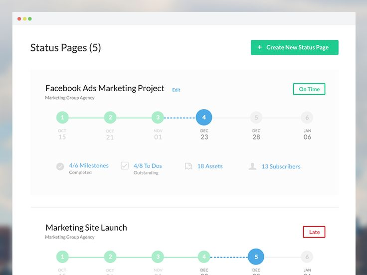 """This is the projects view, or the projects """"Dashboard"""" if you will for ProjectPulse. The page shows rows of projects and a timeline showing the stage of completion of each project. Clicking on the ..."""