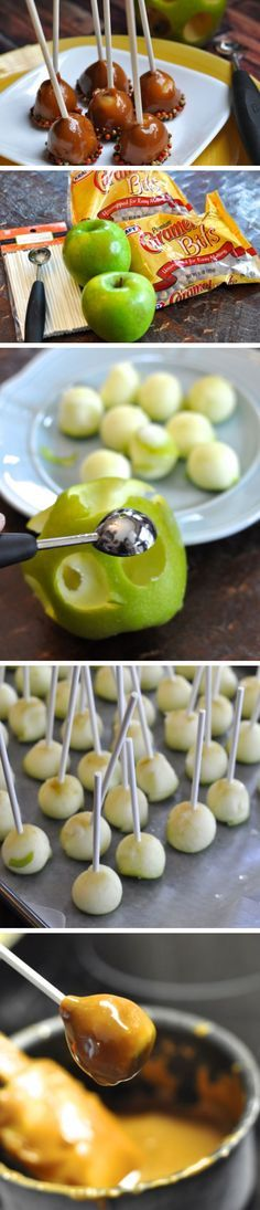 Mini Caramel Apples Recipe | Click Pic for 22 DIY Halloween Party Ideas for Kids | Easy Halloween Party Food Ideas for Kids to Make