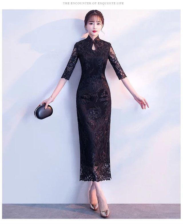 ee517ec4f4a22 ブラック チャイナ風ドレス 商品番号C190101