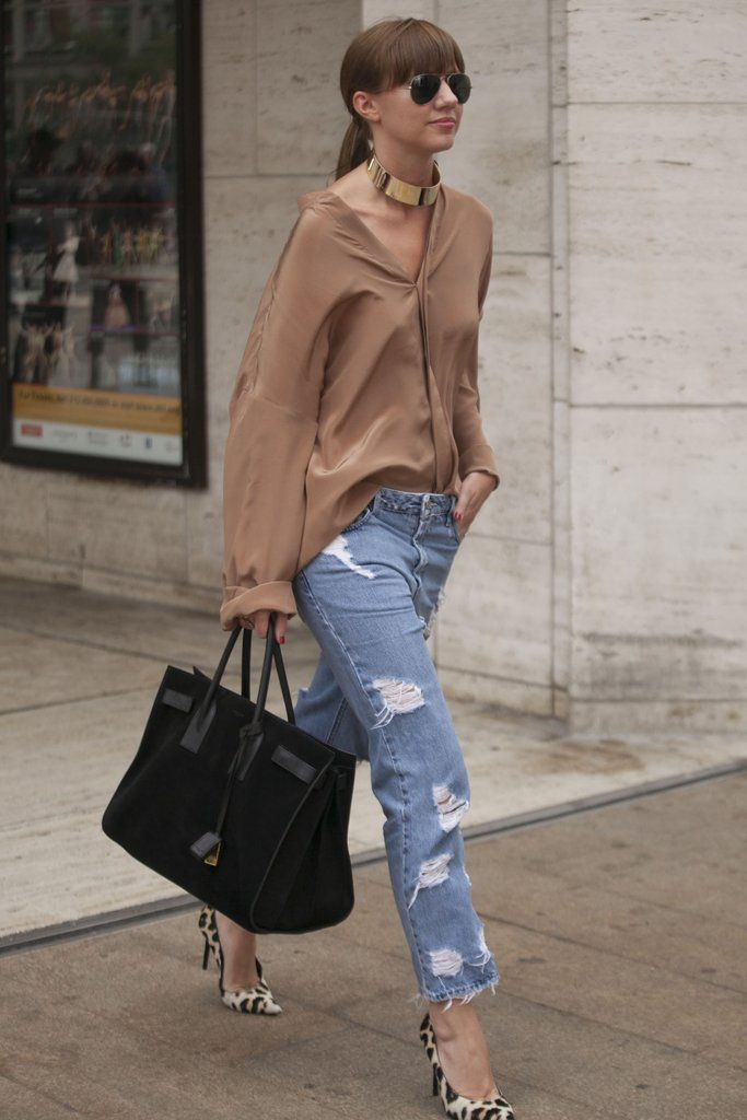 """Pair boyfriend jeans with sophisticated pieces for a """"chillin with elegance"""" vibe.  www.WorkingLook.com  #restyle #styling #style #fashion #maturista #stylingtips #styleinspiration  #styletips #wardrobegoals  #wardrobe"""