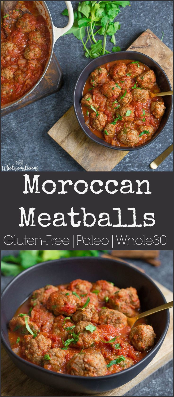 These flavorful meatballs are simmered in a spicy Moroccan tomato sauce for a delicious dinner or appetizer! So easy to make. Paleo, GF, and Whole30 approved. #paleo #glutenfree #whole30