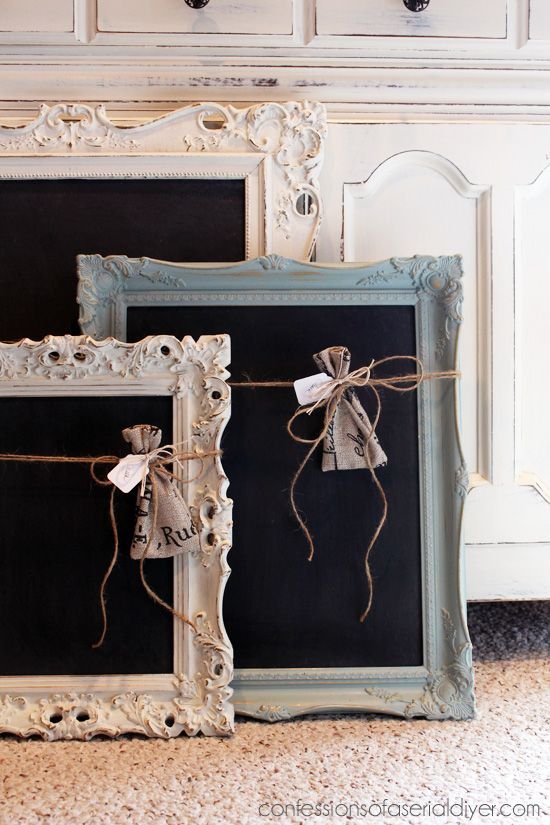 DIY:  How to Create Chalkboards from Picture Frames + a clever way to store the chalk by hanging from raffia in a burlap bag - via Confessions of a Serial DIY'er