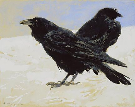"Another amazing Corvidae painting my Jamie Wyeth!  ""Raven Pair"" (1997)"