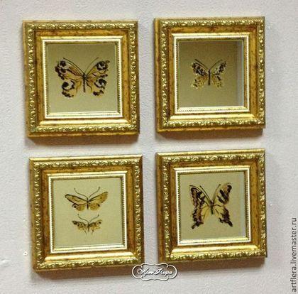 """Зеркала ручной работы. Ярмарка Мастеров - ручная работа. Купить Набор мини -  зеркал """" Коллекция бабочек"""". 4 шт.. Handmade."""