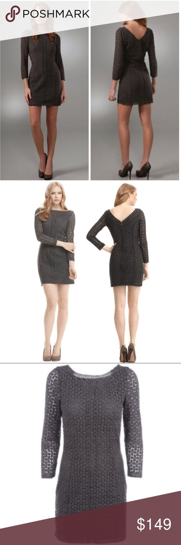 DVF Caritan Lace Crochet Tunic Grey Mini Dress Excellent preowned condition, like new. Exude vintage style in this perfect-for-fall crocheted lace dress from DIANE von FURSTENBERG. Add modern edge with studded neutral pumps. Heather gray crew neck dress, Three quarter sleeves, exposed zipper up to a V-neck  back, fully lined at the bodice, Picot-trimmed zigzag edges. Gorgeous! Diane Von Furstenberg Dresses Mini