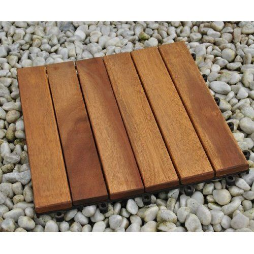 SAM® Terrassenfliese 01 aus Akazien-Holz, Einzelfliese, FSC® 100% zertifiziert, Garten-Fliese, Bodenbelag mit Drainage Unterkonstruktion, Klick-Fliesen für Garten, Terrasse, Balkon