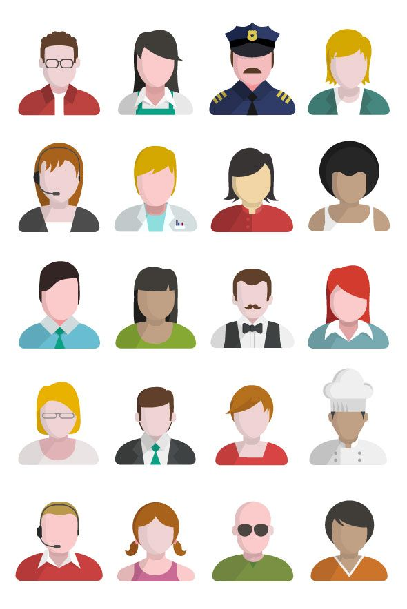 People and user flat icons set.