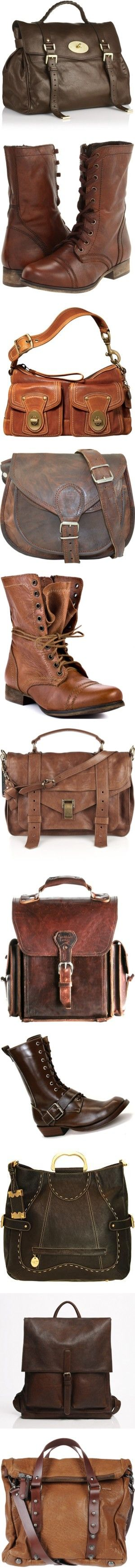 Bags n' Boots by cynthia335 on Polyvore featuring bags, handbags, purses, bolsas, brown leather satchel, leather handbags, brown handbags, brown satchel purse, brown satchel and shoes