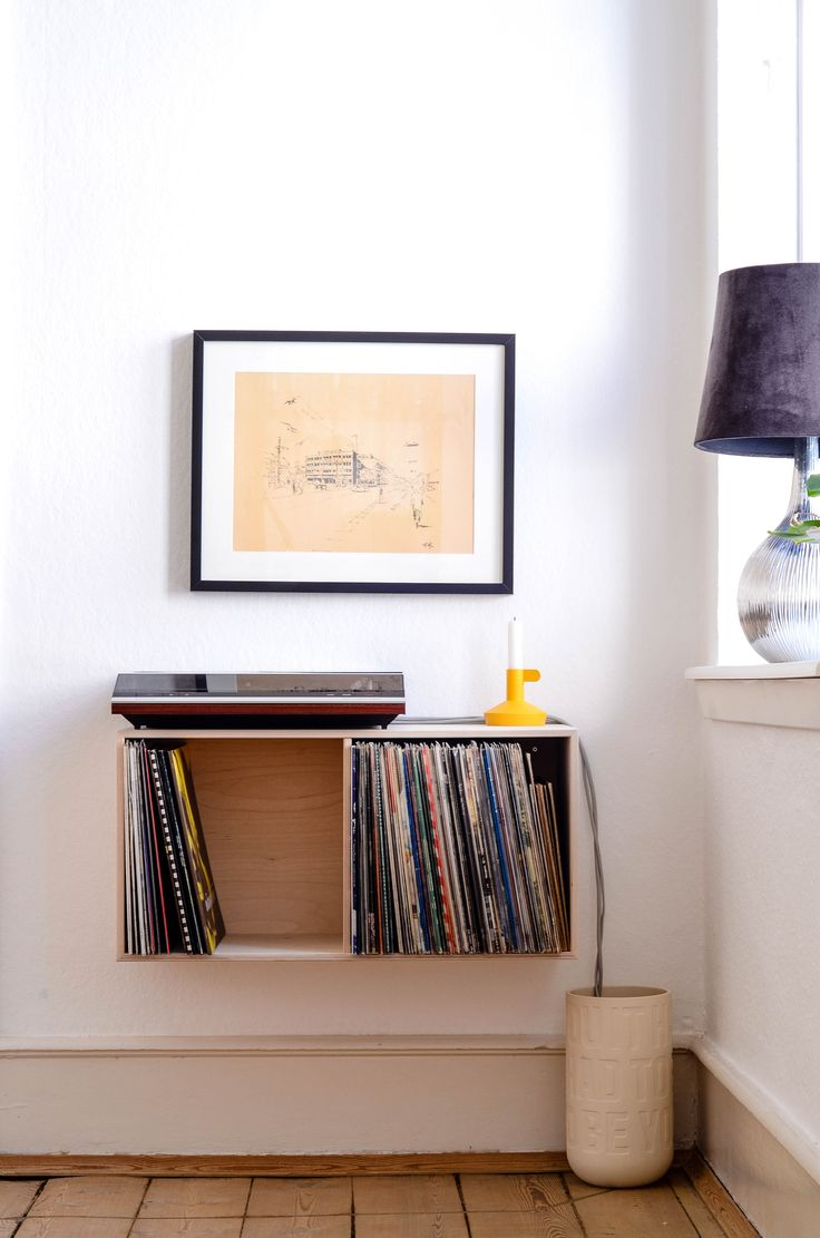 A contemporary way to house vinyl records.