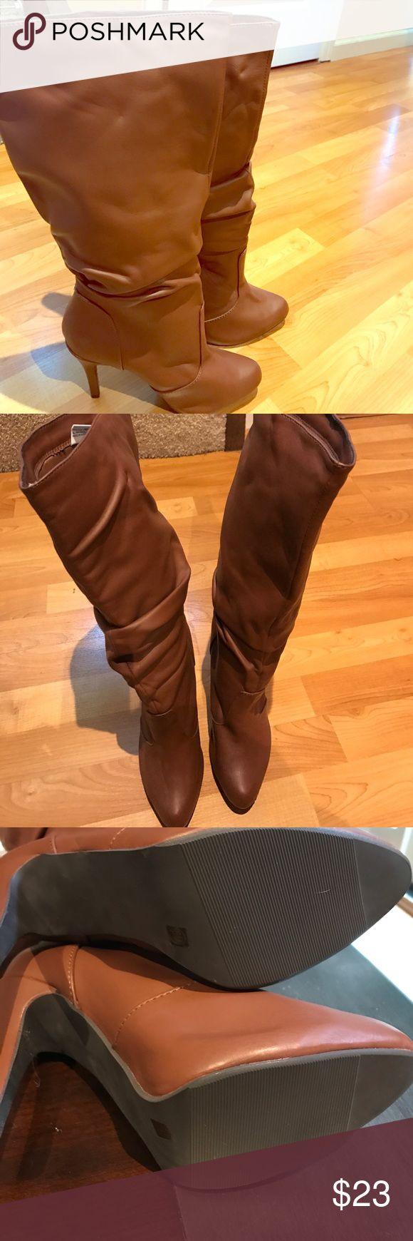 Shoe Dazzle Carmel Brown knee high boots Never worn out of the house! Shoe Dazzle Shoes Heeled Boots