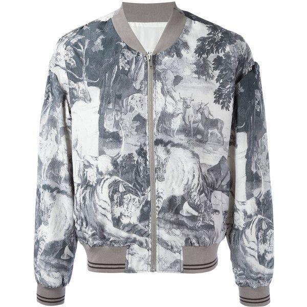 Maison Margiela Kaban bomber jacket (€1.845) ❤ liked on Polyvore featuring men's fashion, men's clothing, men's outerwear, men's jackets, grey, mens grey bomber jacket, mens gray leather jacket and mens grey jacket
