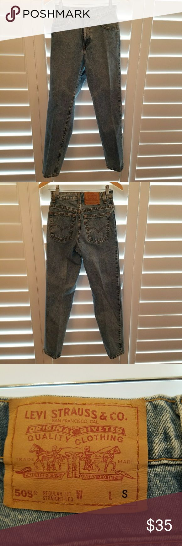 """Vintage Levi's 505 Jeans Vintage classic Levis 505 jeans.  Size 3 short. Regular fit, straight leg.  Inseam 29"""".  Looks like distressed acid wash. Only worn once or twice. In excellent condition. Levi's Jeans Straight Leg"""