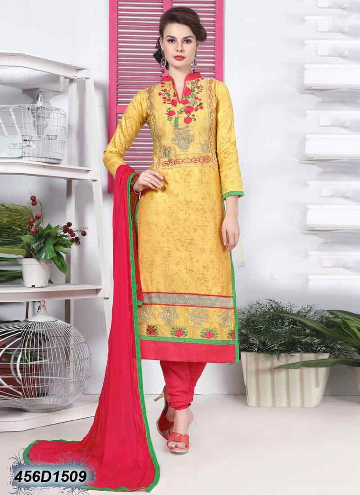 Beguiling Yellow Coloured Glace Cotton unstitched salwar suit