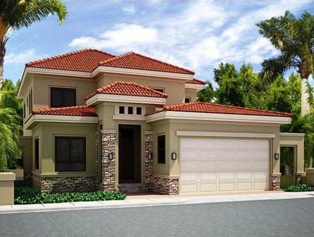Fachadas de casas de color beige y tejas rojas