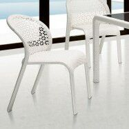 100 Essentials South Stacking Patio Dining Chair with Cushion Fabric: Sunproof White, Finish: White
