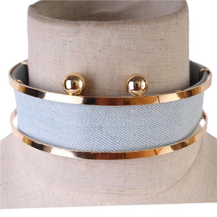 """13"""" gold jean denim choker collar bib necklace earrings"""