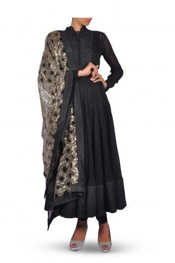 Black Anarkali Suit with Golden Dupatta