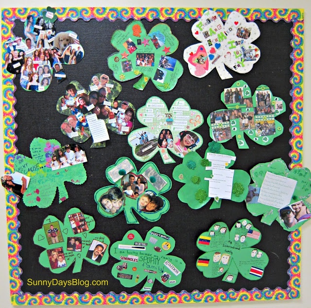 Lucky Family Project:  Send a Shamrock shape home and have families work together to decorate the Shamrock.  Printable and everything you need is here from Sunny Days in Second Grade.  Great idea!