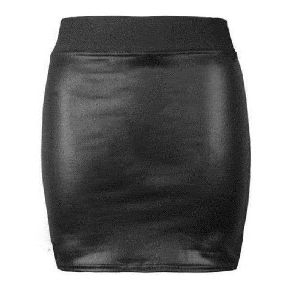 Black Elastic Bodycon PU Leather Skirt (€12) ❤ liked on Polyvore featuring skirts, mini skirts, saias and black