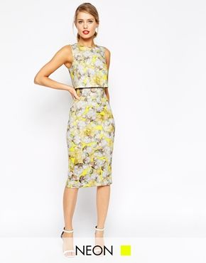 ASOS Neon Yellow Crop Top Pencil Dress