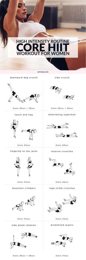 Sculpt, tone and tighten your whole core at home with this high-intensity workout for women. Improve your cardiovascular endurance, speed up your metabolism and blast belly fat in less than 30 minutes! http://www.spotebi.com/workout-routines/high-intensity-core-workout/