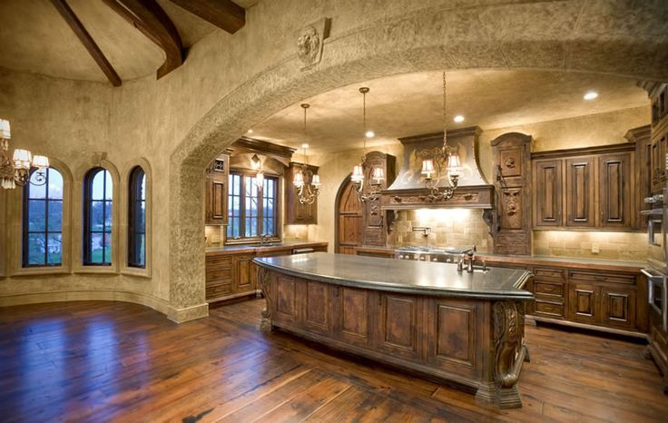 Natural Tuscan Inspired Kitchen With Island Mediterranean Kitchen ...