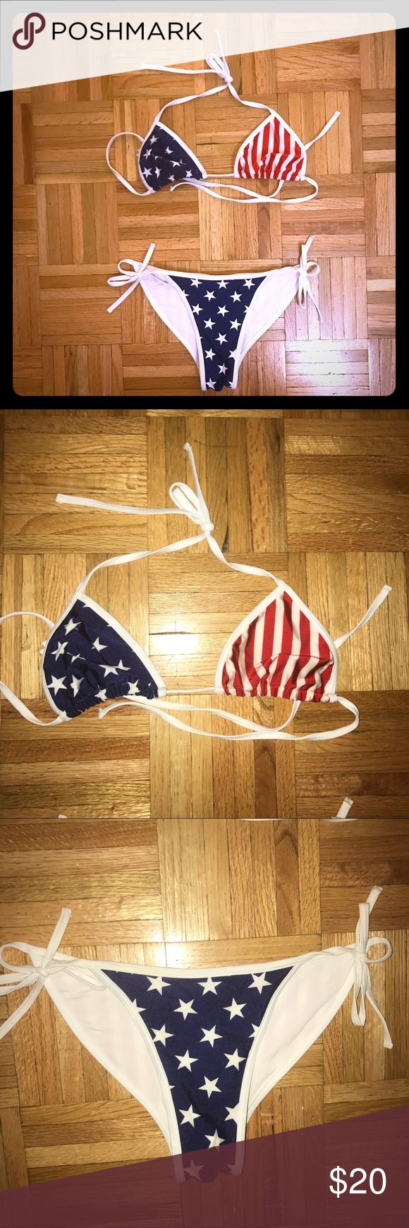 American Flag Bikini - American Apparel NWOT Sexy USA bikini - perfect for the Fourth of July! Never worn - NWT. Unlined. Top is size M and bottom is size L - runs small. American Apparel Swim Bikinis