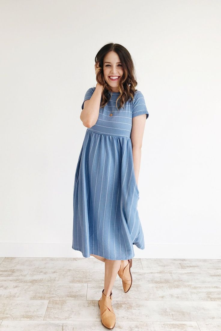 Light Blue Striped Dress with Pockets | ROOLEE