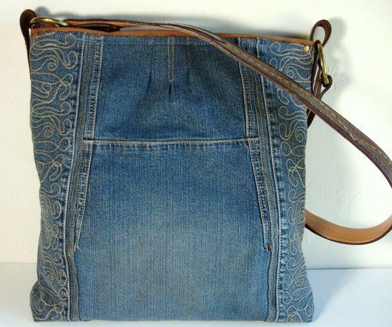 chaqueta de jean reciclado azul bolso Weekender grande