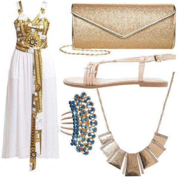 Questo+outfit+lo+propongo+per+una+cerimonia+o+per+una+serata+elegante+ed+è+composto+da+un+bellissimo+abito+Versace+jeans+contornato+da+accessori+più+economici+come+la+pochette+oro+glitter,+la+collana+in+stile+etnico+dorata,+i+sandali+bassi+e+un+grazioso+fermaglio+per+i+capelli+con+strass+turchesi.