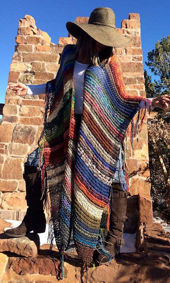 XTRA-LONG Handknit Womens Bohemian Festival hippy Beach Poncho
