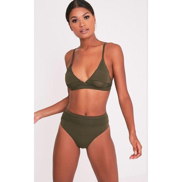 Genny Khaki Mix And Match Bikini Bottoms (175 ZAR) ❤ liked on Polyvore featuring swimwear, bikinis, bikini bottoms, green, bikini bottom swimwear, bikini swimwear, sports bikini swimwear, bikini beachwear and bikini two piece