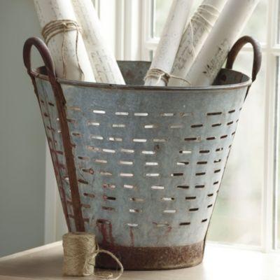 : Baskets Buckets Crates Boxes, Decor Ideas, Home Accessories, Ballarddesign, Vintage Olives, Storage Baskets, Decor Pillows, Olives Buckets, Ballard Design