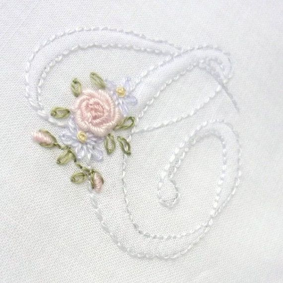 Monogram AddOn Floral Hand Embroidered by CommonThreadCottage, $10.00