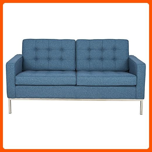 LeisureMod Modern Florence Style Loveseat Sofa Blue Twill Wool