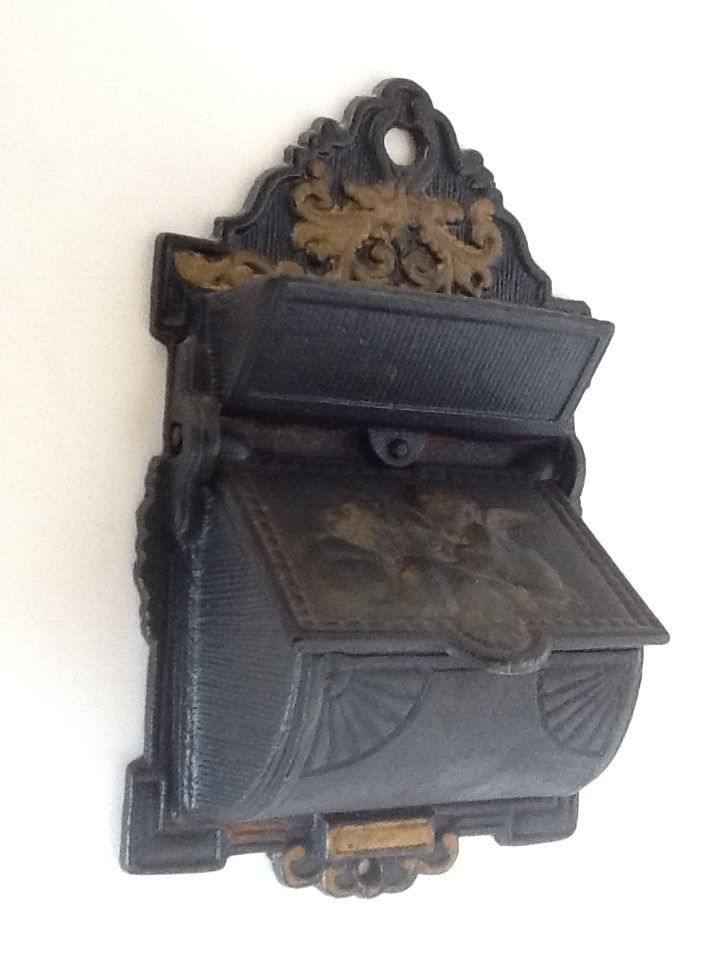 Venus Kissing Cupid Wall Mount Match Safe Holder Tobacciana Antique Cast Iron