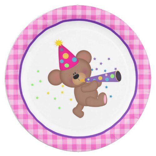 Pink and Purple Teddy Bear Birthday Paper Plates